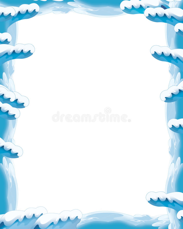 Cartoon snow and ice frame for different usage with space for text royalty free illustration