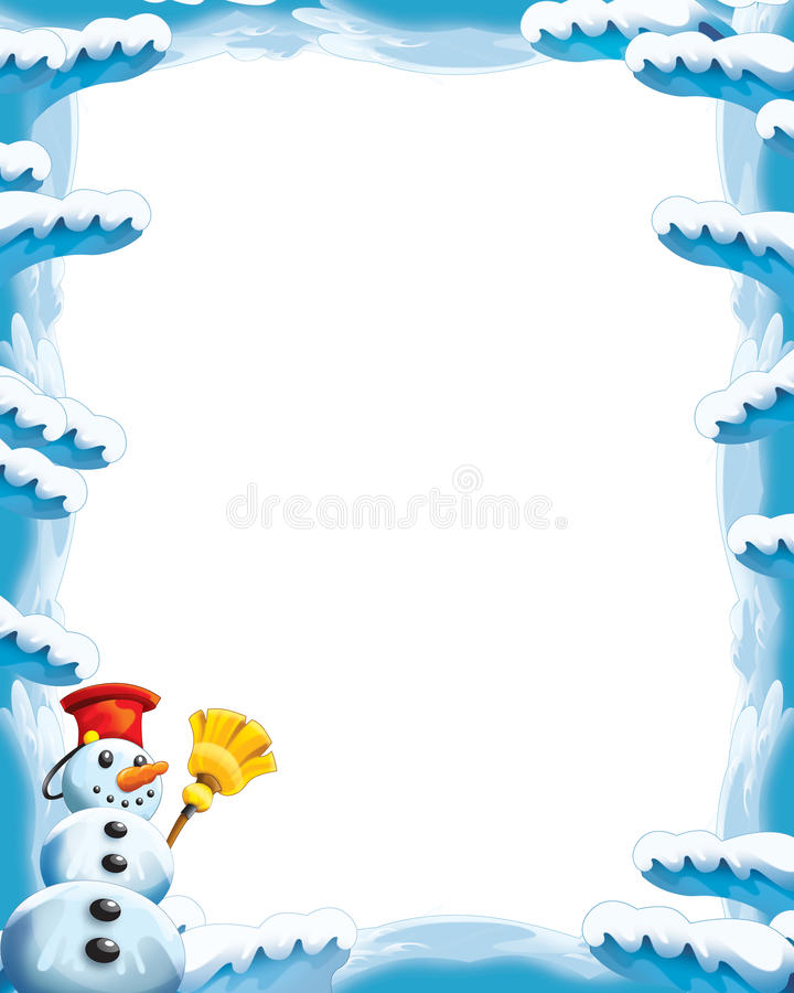 Cartoon snow and ice frame for different usage with space for text vector illustration