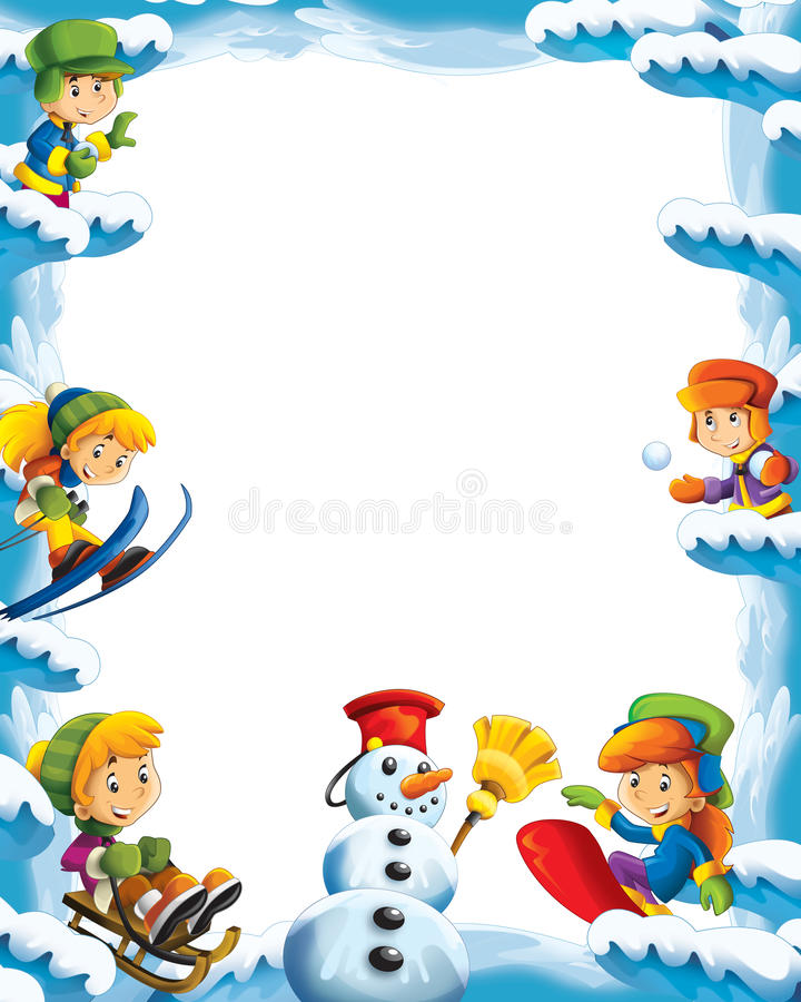 Cartoon snow and ice frame for different usage with space for text stock illustration