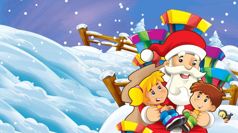cartoon snow scene with santa claus and kids vector illustration