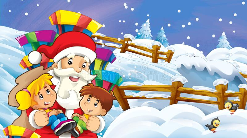 Cartoon snow scene with santa claus and kids stock illustration