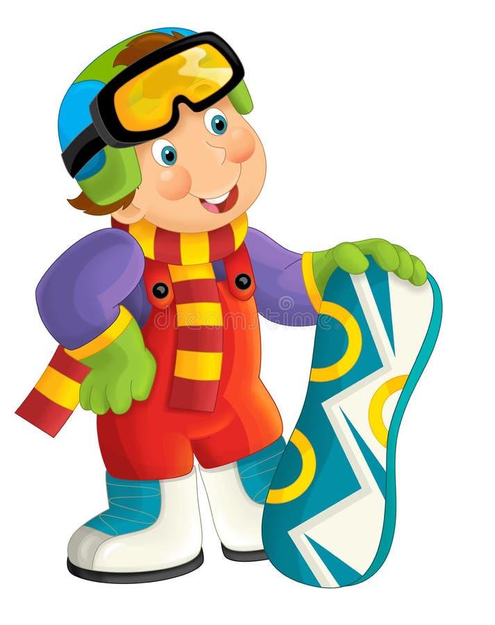 Cartoon snowboarder - boy royalty free illustration