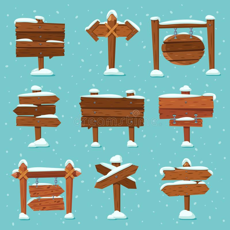 Cartoon snowed signpost. Christmas wooden signpost with snowcap. Arrows on snow and direction signs with icicles on top. Cartoon snowed signpost. Christmas stock illustration