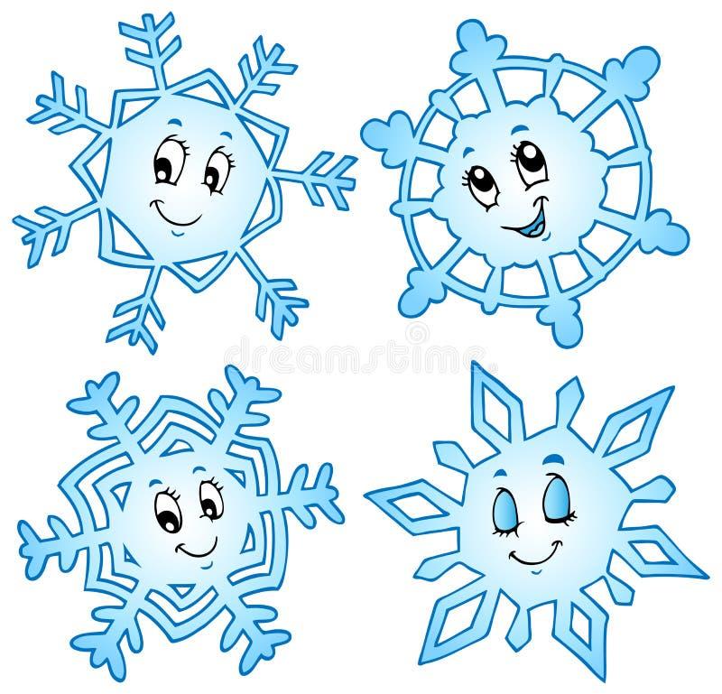 Cartoon snowflakes collection 1 stock illustration