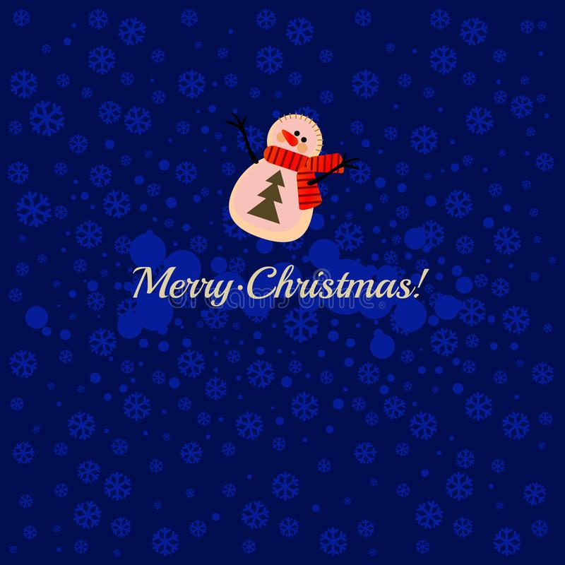 Cartoon snowman on a blue background with snowflakes and the words Merry Christmas. Sample of the poster, party. Invitation, gift wrapping paper and other cards stock illustration