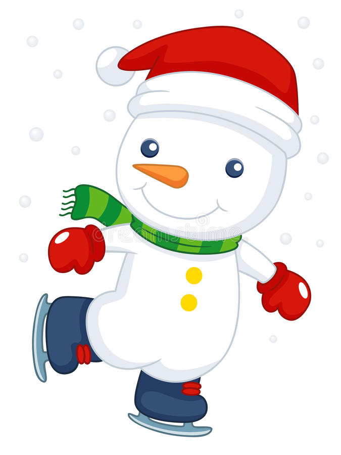 Cartoon Snowman Ice Skating Stock Photography Image