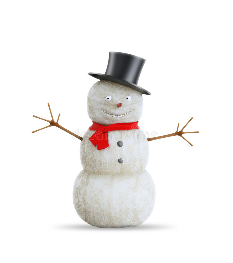Cartoon snowman with a red scarf stock image