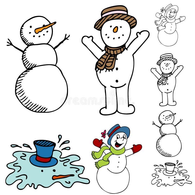 Cartoon Snowman Set stock images