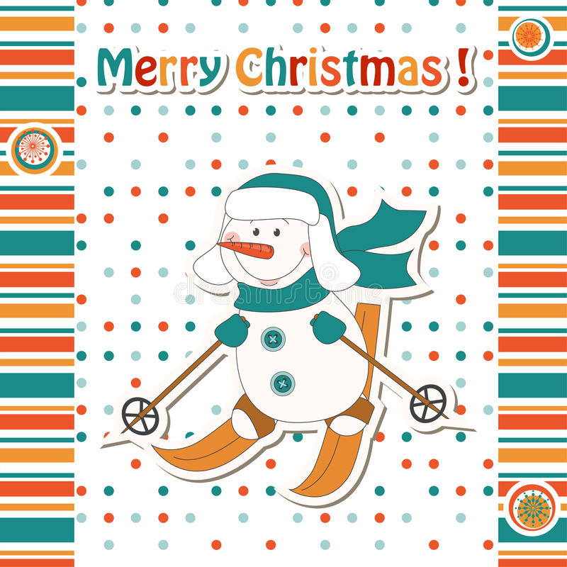 Cartoon snowman skiing vector illustration