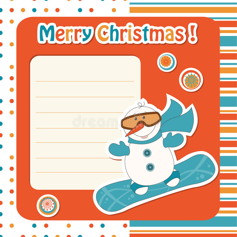 Download Cartoon  Snowman On Snowboard Stock Vector - Illustration of clothing, holiday: 27027725
