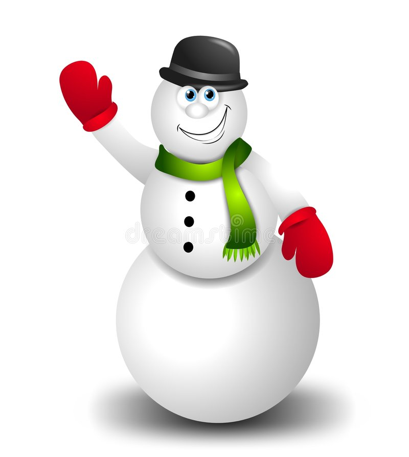 Cartoon Snowman Waving. A clip art illustration featuring a happy snowman waving, wearing mittens, hat and scarf stock illustration