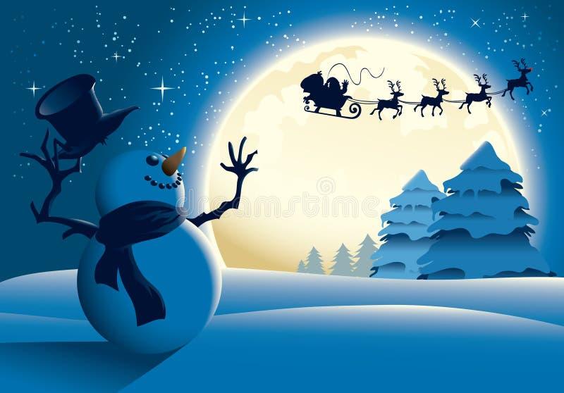 Cartoon Snowman Waving To Santa Sleigh - Blue vector illustration