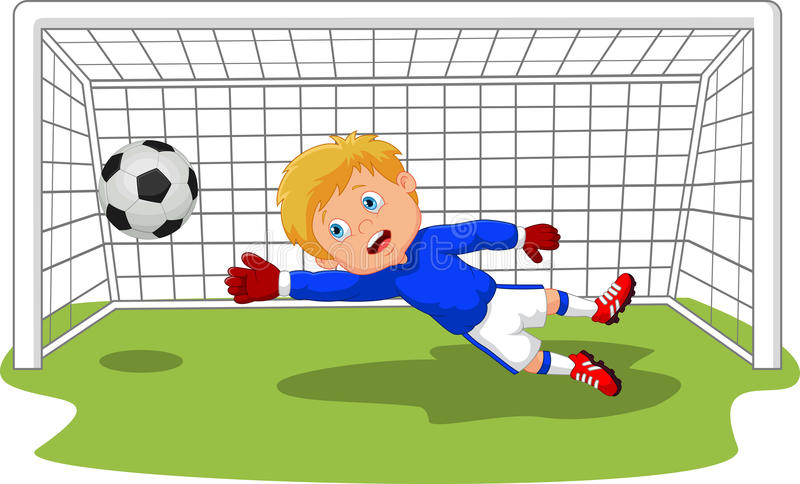 Cartoon Soccer football goalie keeper saving a goal. Illustration of Cartoon Soccer football goalie keeper saving a goal vector illustration