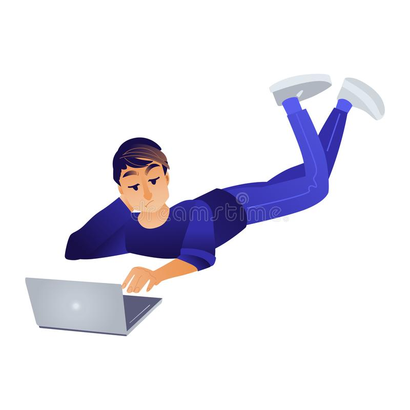 Cartoon boy lying at floor near laptop. Cartoon social communication concept with young man male characte lying at floor behind laptop taping, chatting, sending stock illustration
