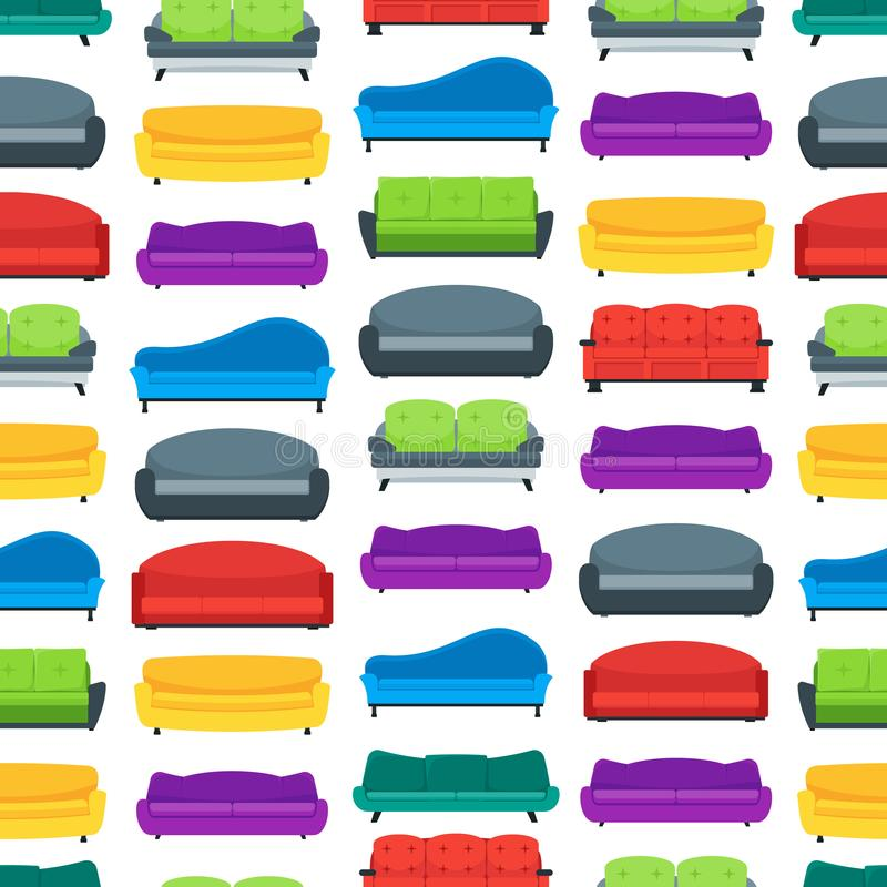 Cartoon Sofa or Couch Seamless Pattern Background. Vector stock illustration