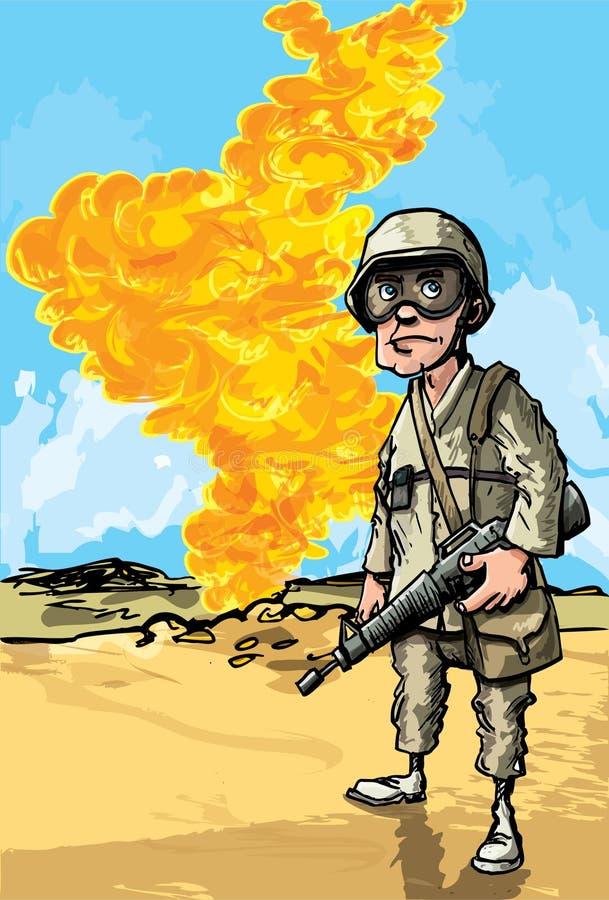 Cartoon Soldier in desert conflict stock illustration