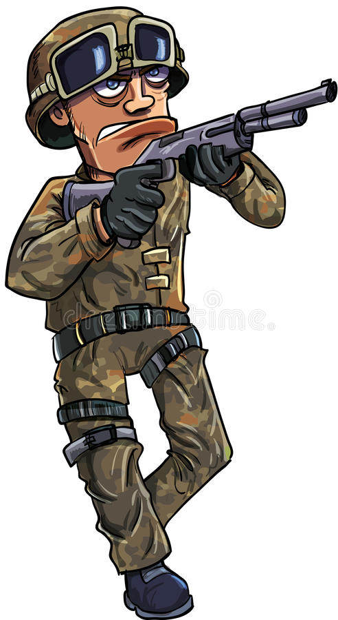 Download Cartoon Soldier With A Shotgun Stock Vector - Image: 33705877
