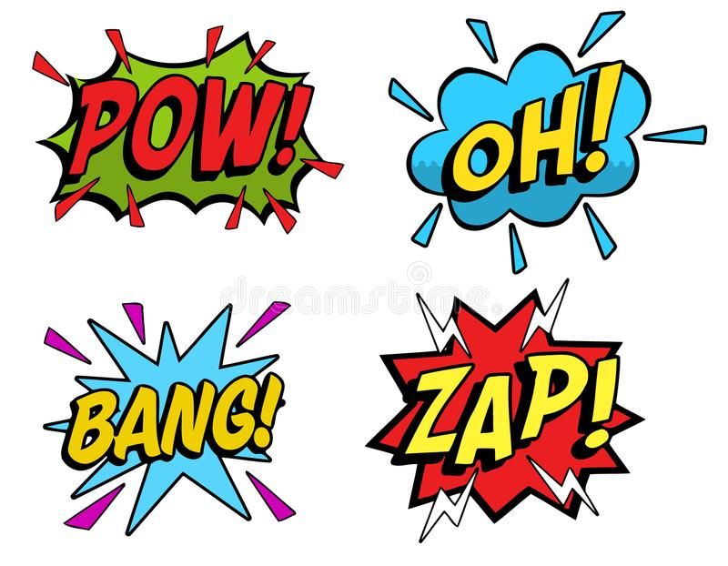 Cartoon sound effects 03. Four different colorful cartoon sound effects stock illustration