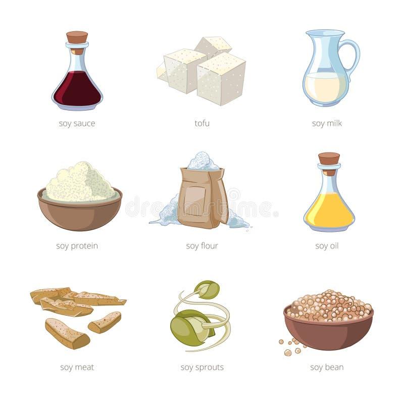Cartoon soy food vector set. Healthy diet, seed soya, tofu and milk, vegan organic soybean illustration vector illustration