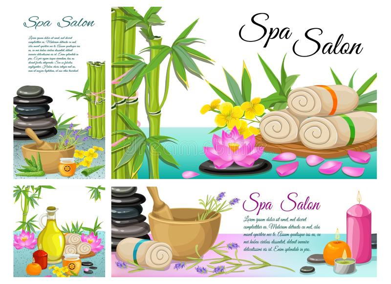 Cartoon Spa Salonsamenstelling vector illustratie