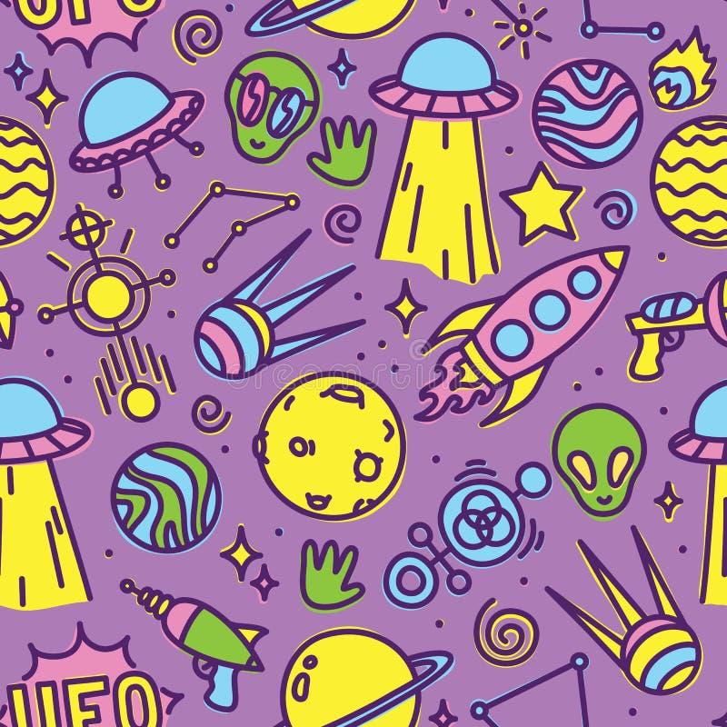 Cartoon space aliens seamless vector pattern stock illustration