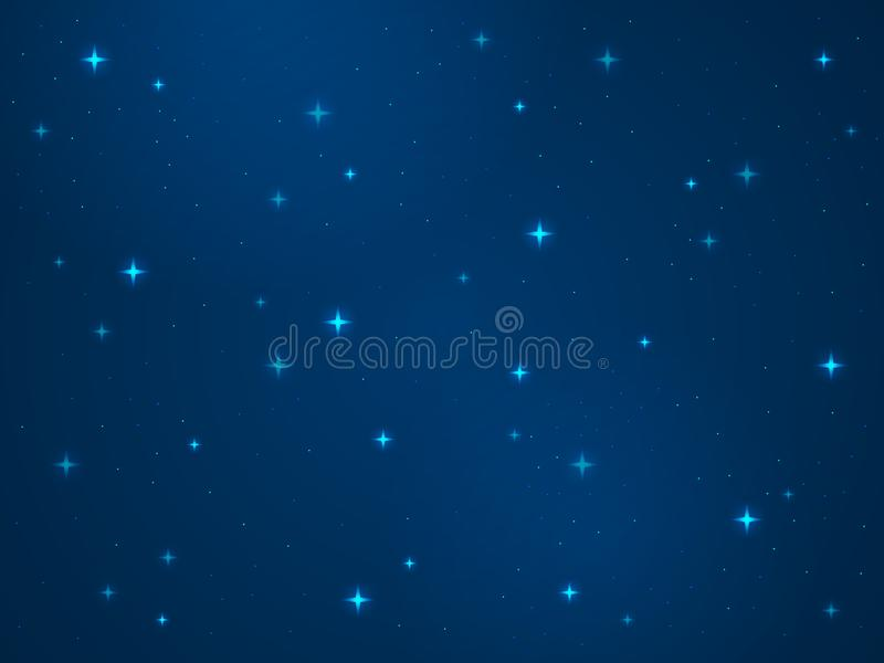 Cartoon space background. Stars cosmos night starry sky universe dust light star milky way galaxy astronomy texture. Vector astrophysics concept royalty free illustration