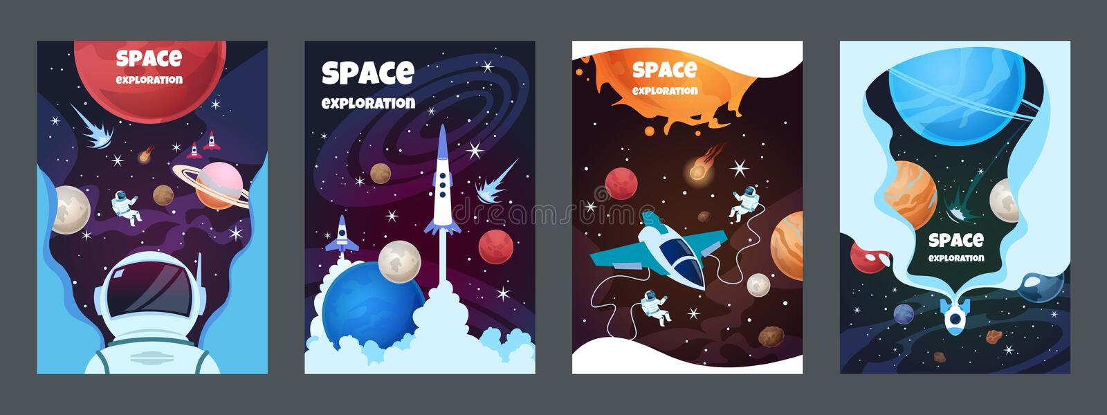 Cartoon space banners. Galaxy universe science child astronaut modern planet poster study banner. Vector brochure space stock illustration
