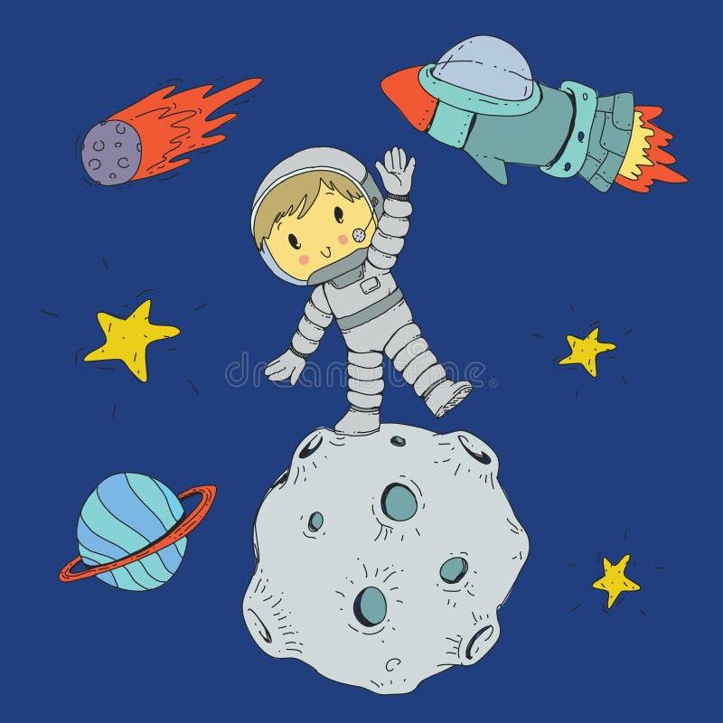 Cartoon space for children. Moon, stars, planet, asteroid, boy astrounaut, rocket, spaceship, alien, ufo. Adventure royalty free illustration