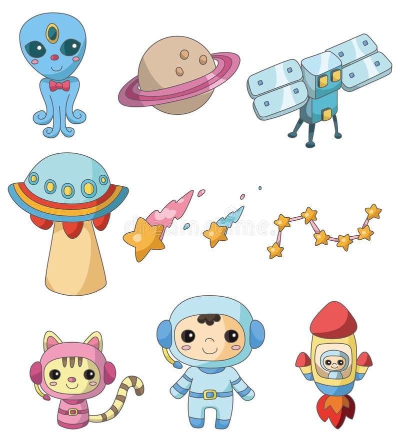Cartoon space element icon stock illustration