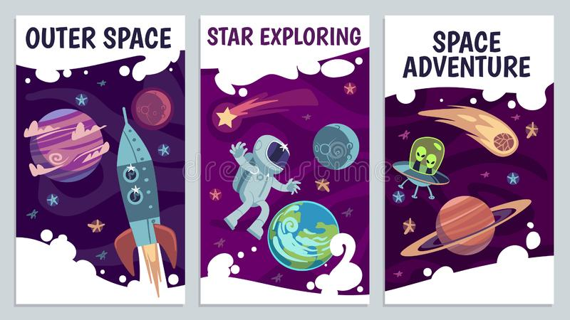 Cartoon space flyers. Astronomy future presentation. Galaxy explorers, universe journey with astronaut, comet and rocket vector illustration