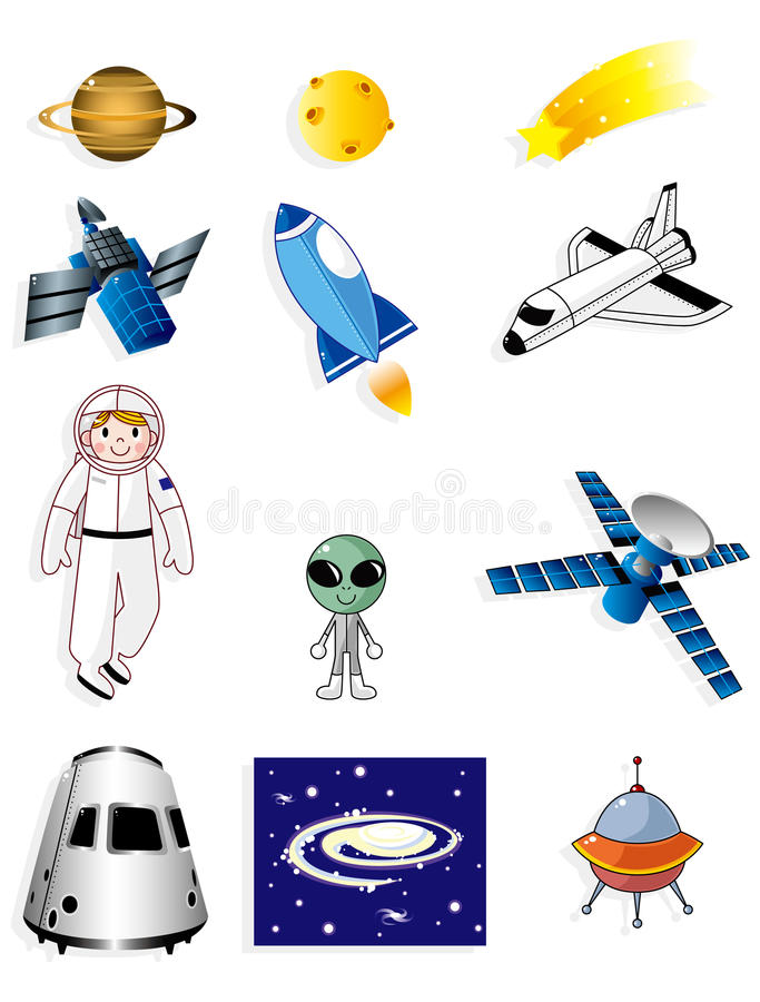 Download Cartoon space icon stock vector. Image of button, collection - 17635306