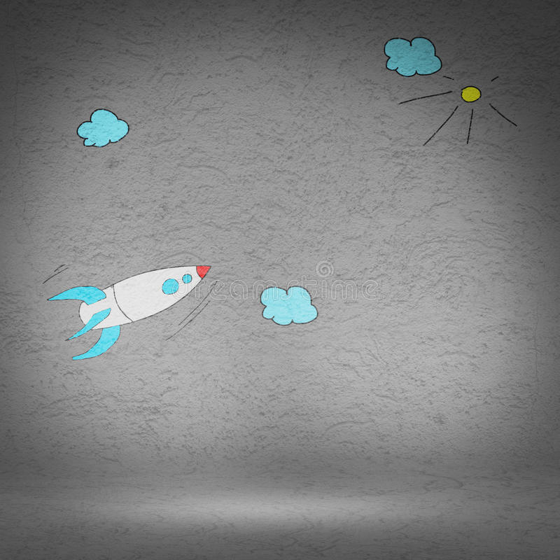Cartoon space rocket. Illustration image with drawn on wall flying rocket royalty free illustration