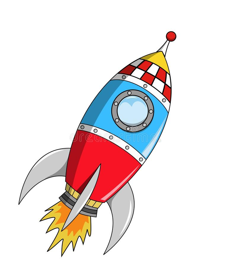 Cartoon Space Rocket on Mission stock illustration