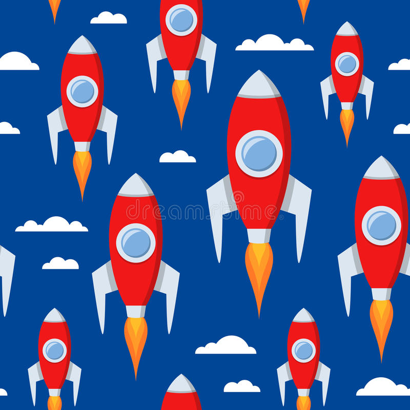 Cartoon Space Rockets Seamless Pattern. A cartoon seamless pattern with a red space rocket flying, on blue background with white clouds. Useful also for start up royalty free illustration