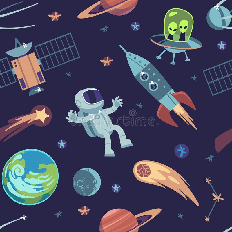 Cartoon space seamless background. Hand drawn galaxy pattern with spaceships satellites planets astronauts, kids doodle. Vector child futuristic cosmic design vector illustration