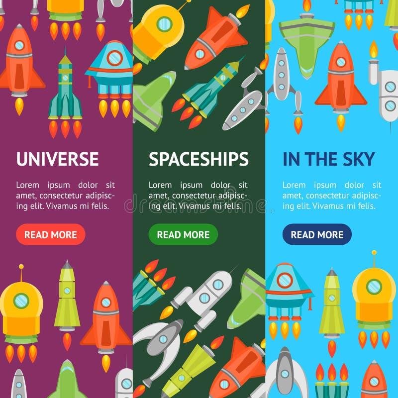 Cartoon Space Ship or Rocket Banner Vecrtical Set. Vector royalty free illustration