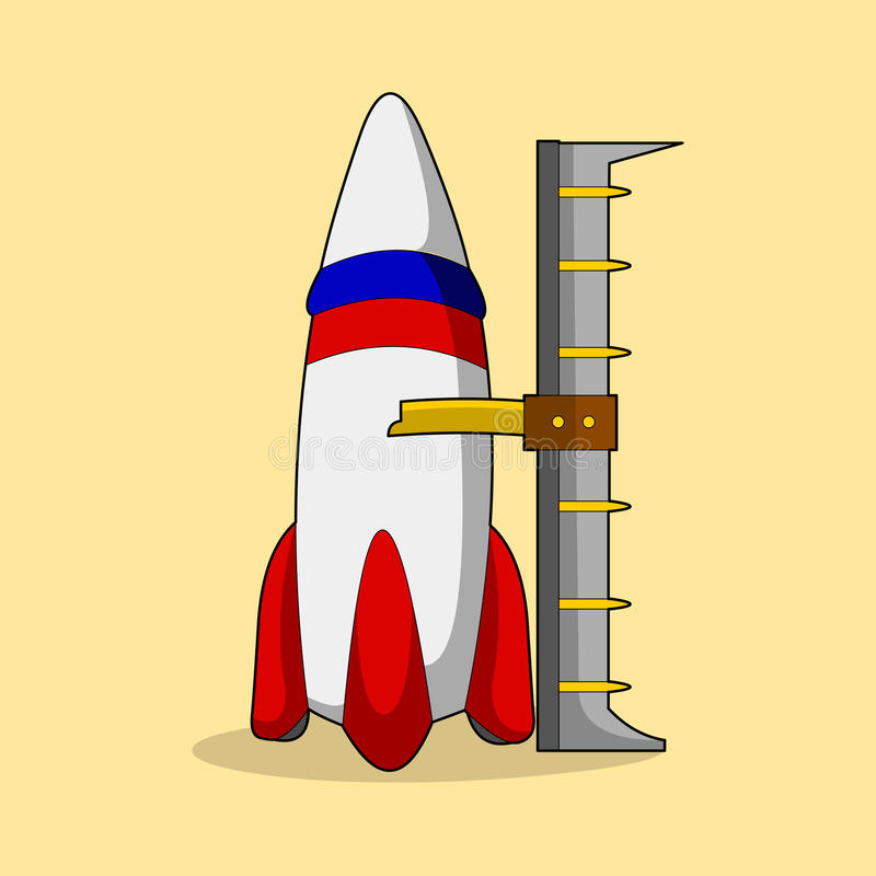 Cartoon space shuttle with pole. Cartoon space shuttle with upright pose and color stock illustration