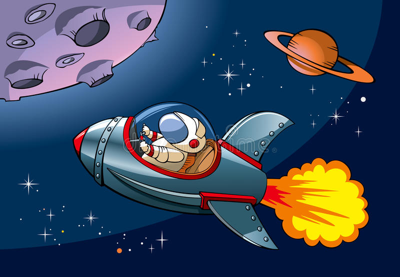 Cartoon spaceship royalty free illustration
