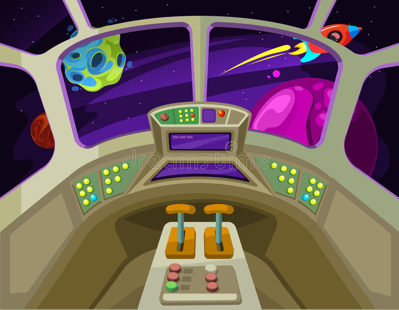 Cartoon spaceship cabin interior with windows into space with alien planets vector illustration stock illustration
