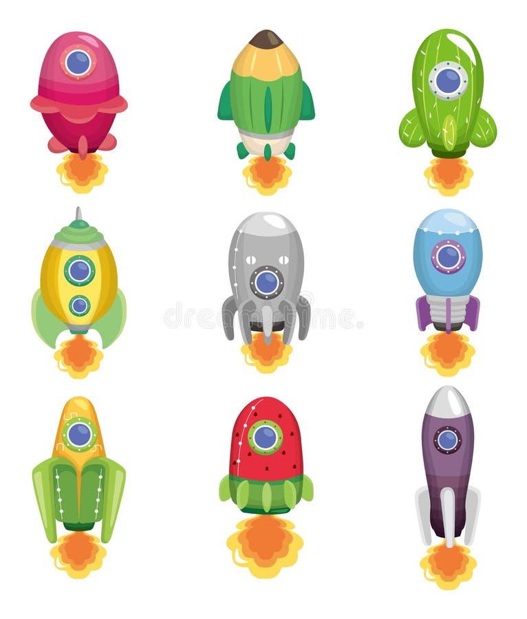 Cartoon spaceship icon stock illustration