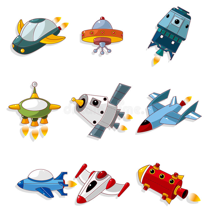 Cartoon spaceship icon set stock illustration