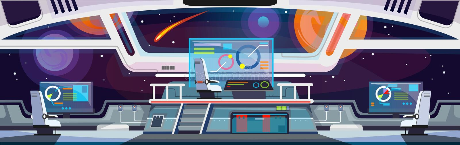 Cartoon spaceship interior design. Vector illustration royalty free illustration