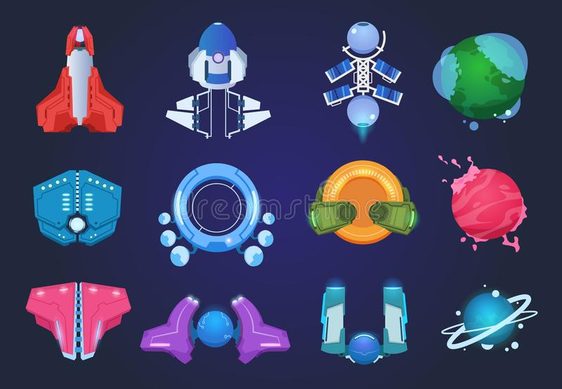 Cartoon spaceships. Alien planets ufo rockets and missiles. Space galaxy game vector items stock illustration