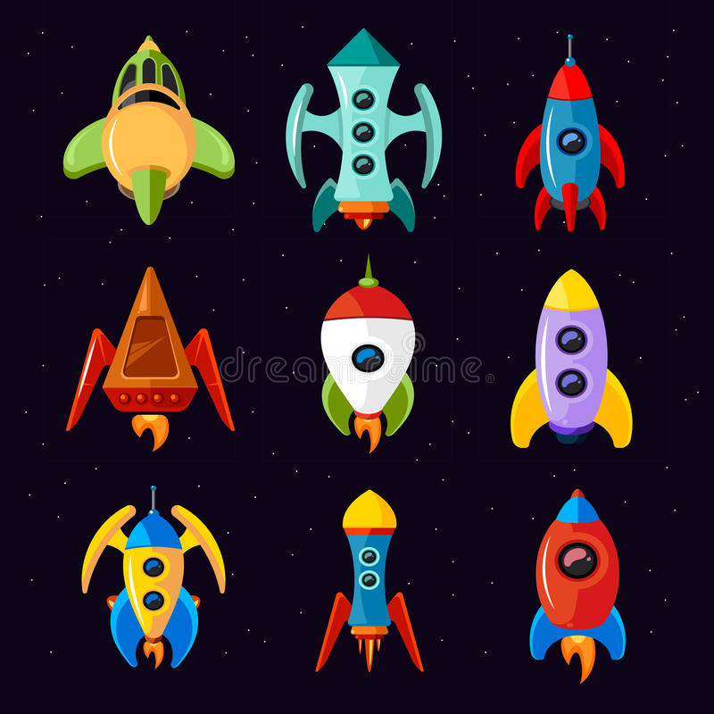 Cartoon spaceships, rocket and futuristic spacecraft vector set. Cartoon spaceships isolated on white background. Rocket and futuristic spacecraft set vector stock illustration