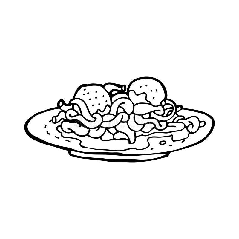 Cartoon Spaghetti And Meatballs Stock Illustration ...