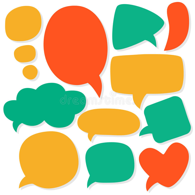 Cartoon speech bubbles. Different sizes and forms. stock illustration