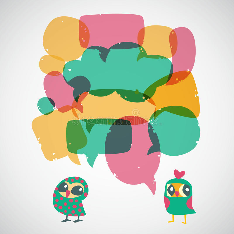 Cartoon speech bubbles with owls. Different sizes and forms. royalty free illustration