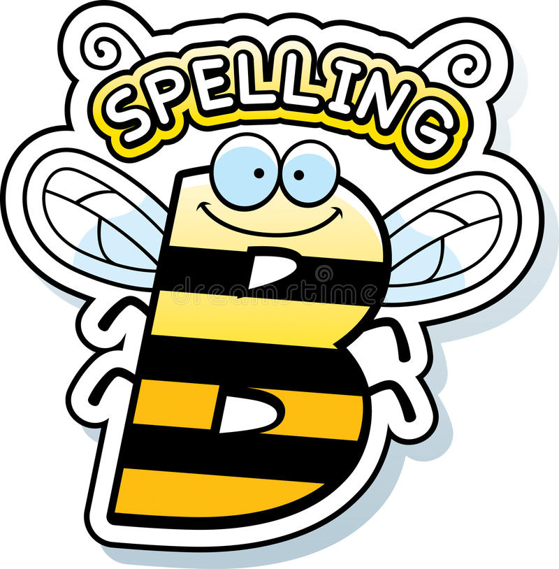 Cartoon Spelling Bee Text. A cartoon illustration of the text Spelling B with a bee theme vector illustration