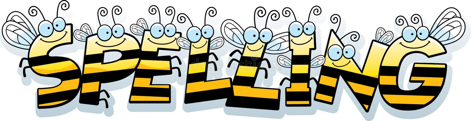 Cartoon Spelling Text. A cartoon illustration of the text Spelling with a bee theme vector illustration