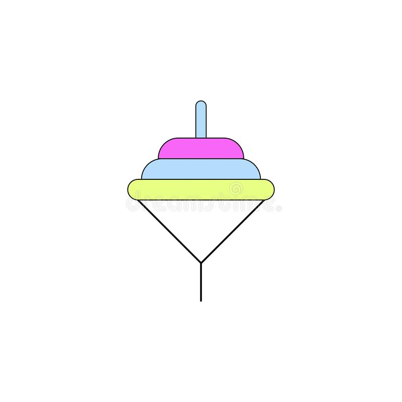 Cartoon spinning toddler toy colored icon. Signs and symbols can be used for web, logo, mobile app, UI, UX. On white background vector illustration